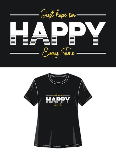 Typographie Heureuse Pour Fille De T-shirt Imprimé Vecteur Premium