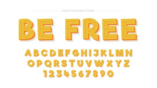 Typographie jaune bande dessinée Vecteur Premium