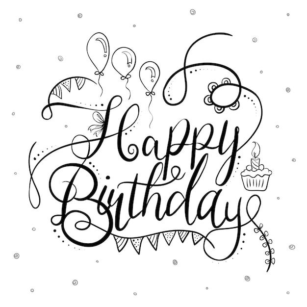Typographie joyeux anniversaire noir et blanc Vecteur gratuit