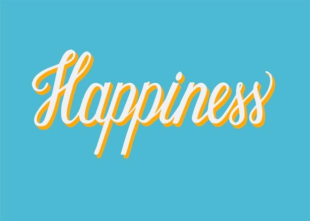 Typographie manuscrite du bonheur Vecteur gratuit