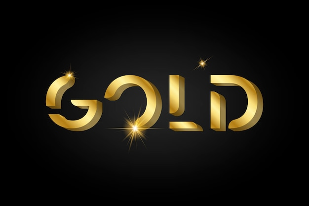 Typographie métallique brillante dorée Vecteur gratuit