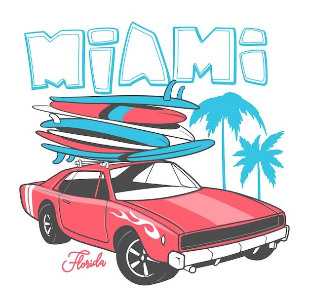 Typographie Miami Pour Impression De T-shirt Et Voiture Rétro Avec Planche De Surf. Vecteur Premium