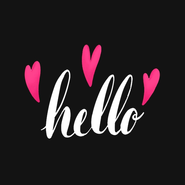 La typographie de mot bonjour décorée avec le vecteur de coeurs Vecteur gratuit