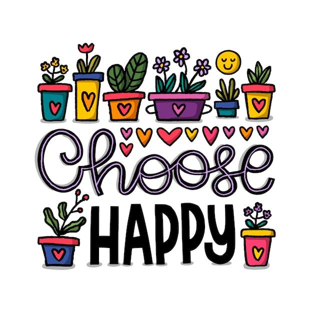 Typographie positive avec des fleurs Vecteur gratuit