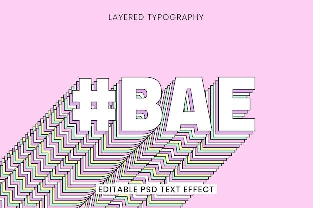 Typographie Rétro Multicouche Bae Vecteur gratuit