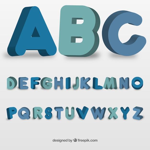 Typographie Ronde Dans Le Style 3d Vecteur gratuit