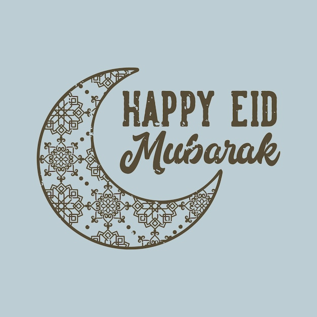 Typographie De Slogan Vintage Heureux Eid Mubarak Pour La Conception De T-shirt Vecteur Premium