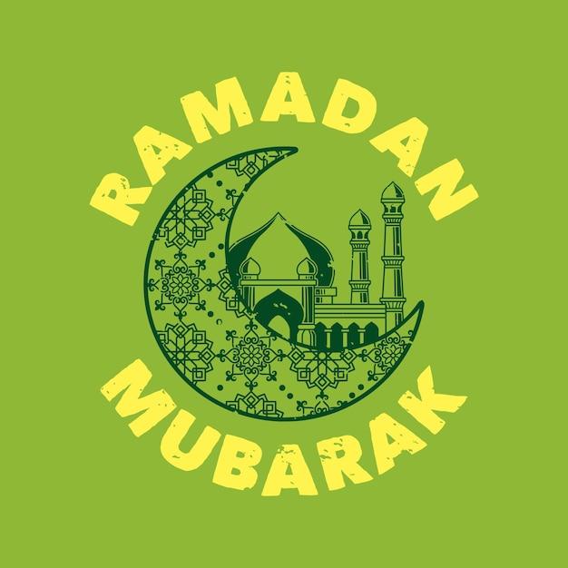 Typographie De Slogan Vintage Ramadan Mubarak Pour La Conception De T-shirt Vecteur Premium
