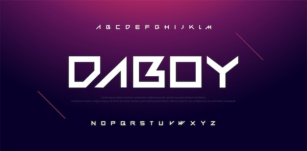 Typographie sport modern technology alphabet police Vecteur Premium