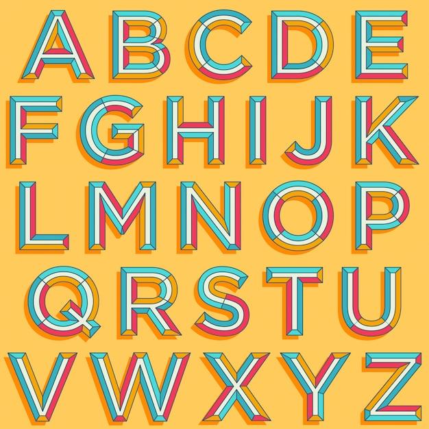 Typographie de style rétro coloré Vecteur Premium