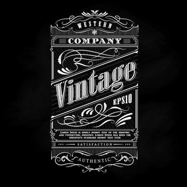 Typographie de tableau noir étiquette western cadre dessiné main Vecteur Premium