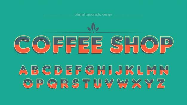 Typographie vintage café coloré Vecteur Premium