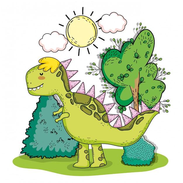 Tyrannosarus dino animal préhistorique avec arbustes Vecteur Premium