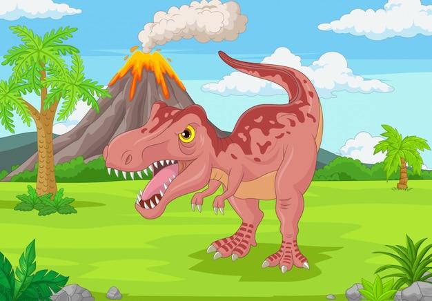 Tyrannosaure De Dessin Animé Dans La Jungle Vecteur Premium