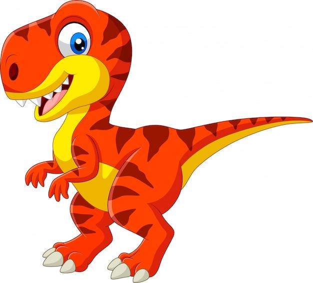 Tyrannosaure dessin animé isolé sur blanc Vecteur Premium