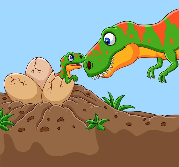 Tyrannosaurus en dessin animé avec son bébé éclos Vecteur Premium