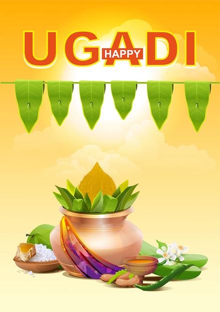 Ugadi Heureux. Modèle De Carte De Voeux Pour Les Vacances Ugadi. Pot En Or Vecteur Premium