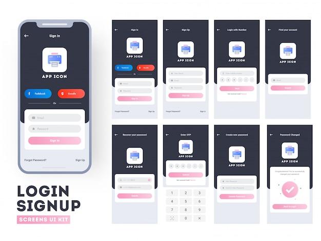 Ui de l'application mobile. Vecteur Premium
