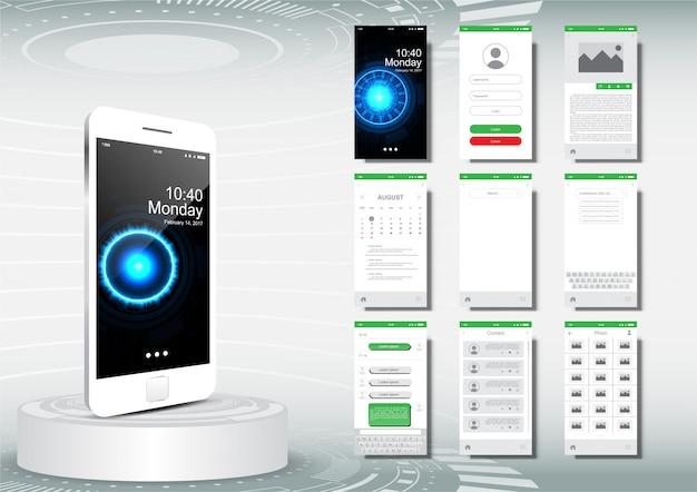 Ui, modèle d'application ux pour mobile, couleur verte au design épuré Vecteur Premium