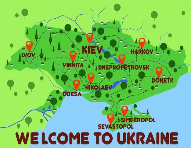 Ukraine carte pays infographie Vecteur Premium