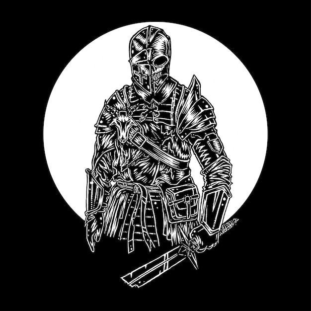 Undead knight, illustration vectorielle dessinés à la main Vecteur Premium