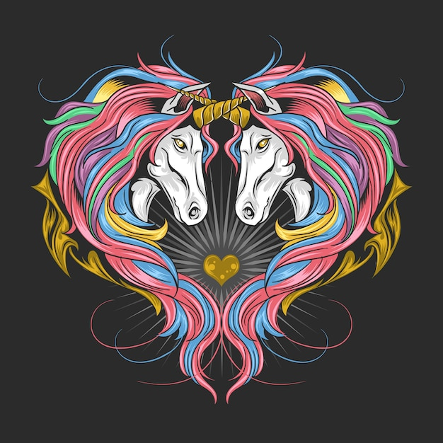 Unicorn Full Rainbow Spectrum Color Hair, Twin Unicorn Make Heart Forme. L'œuvre Est En Couches Modifiables, Vecteur Premium