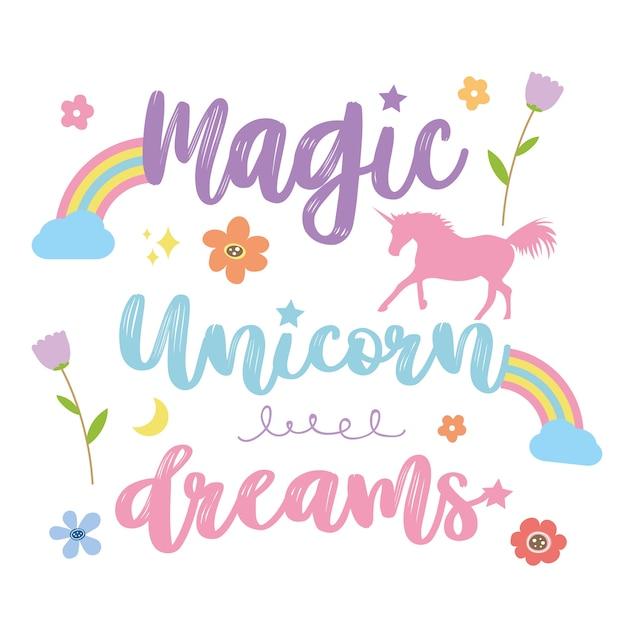 Unicorns horse cute dream fantasy vecteur de personnage de dessin animé Vecteur Premium