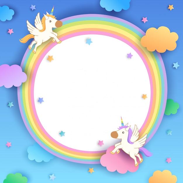 Unicorns-rainbow-frame Vecteur Premium