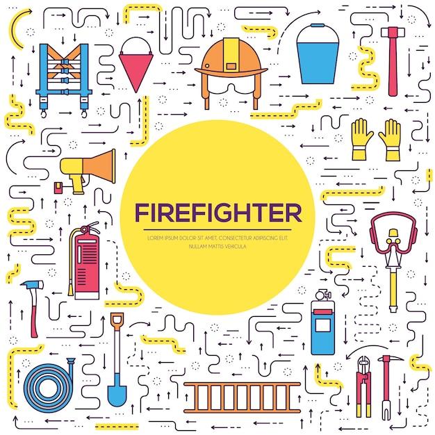 Uniforme Plat De Pompier Et équipement Et Instruments De Première Aide. Vecteur Premium