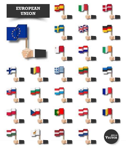 Union européenne . ensemble de drapeau de l'ue et d'adhésion. Vecteur Premium
