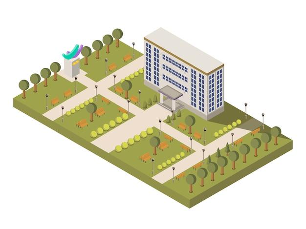 Université isométrique et composition du campus Vecteur gratuit