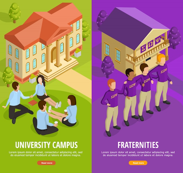 University education 2 bannières verticales isométriques Vecteur gratuit