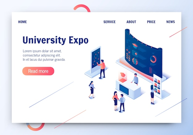 University expo 3d isométrique vector illustration. Vecteur Premium