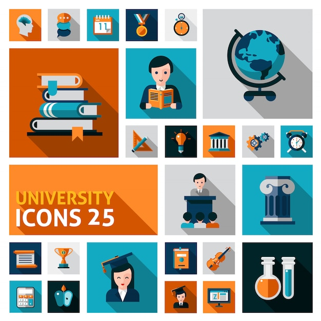 University icons set Vecteur gratuit