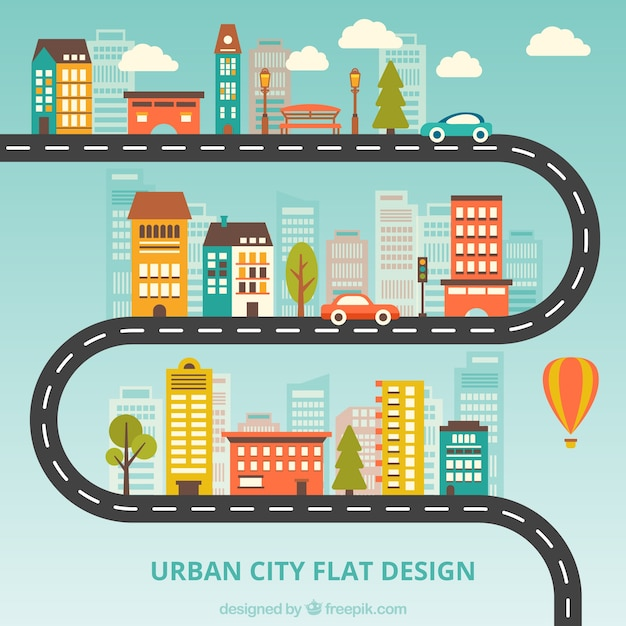 Urban city design plat Vecteur gratuit