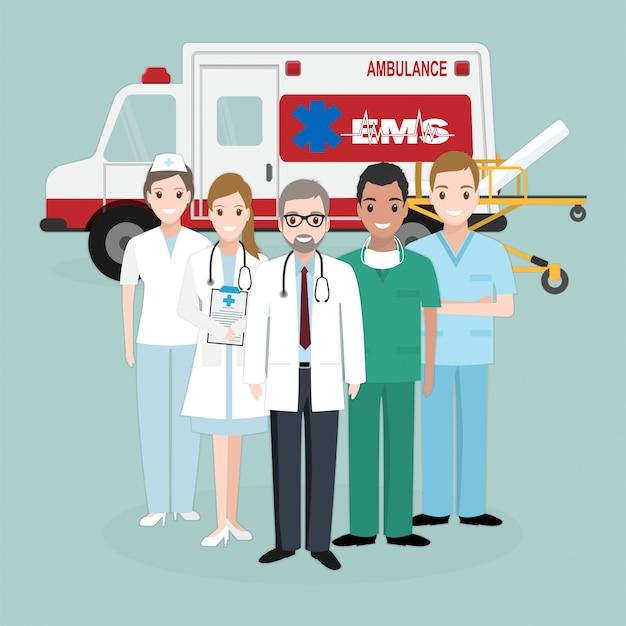 Urgence, équipes médicales de sauvetage Vecteur Premium