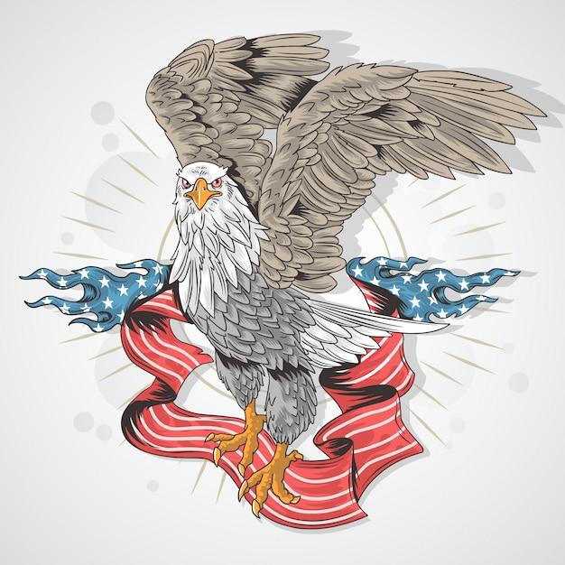 Usa flag eagle Vecteur Premium