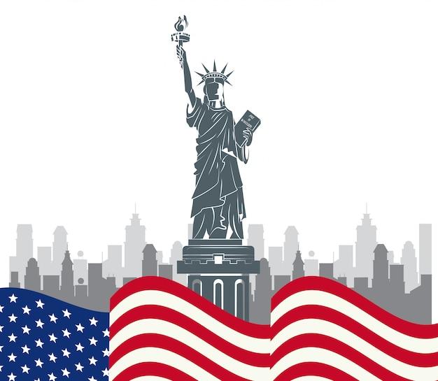 Usa Liberty Statue Ny City Vecteur Premium