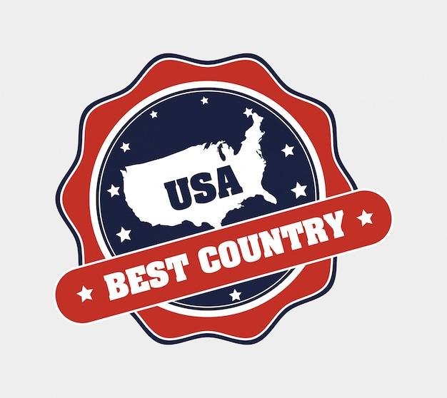 Usa meilleur badge de pays Vecteur gratuit