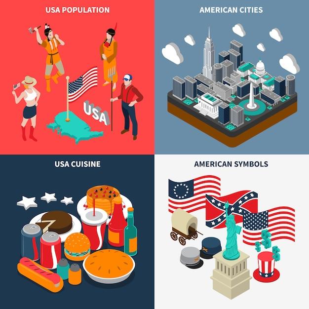 Usa touristic concept icons set Vecteur gratuit