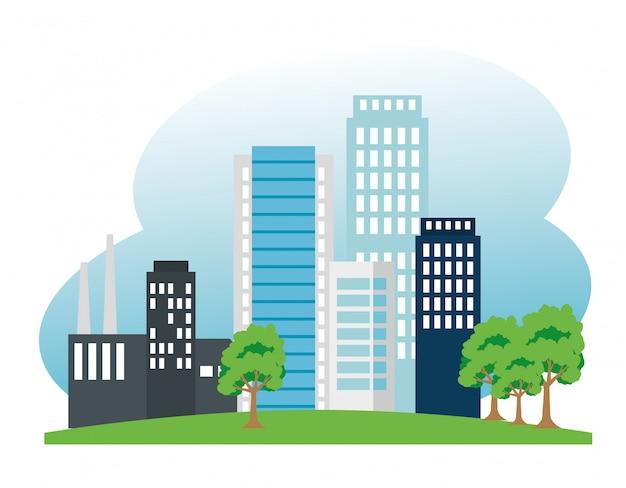 Usine Et Bâtiment Et Arbres à La Conservation De L'écologie Vecteur Premium