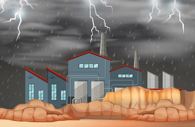 Usine dans une scène de mauvais temps Vecteur gratuit