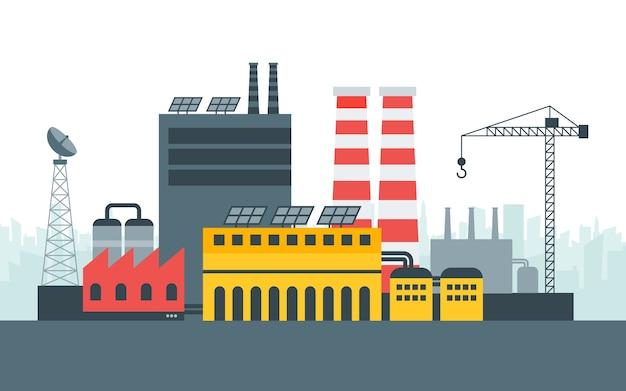 Usine écologique Moderne Avec énergie De Panneaux Solaires. Paysage De La Ville, Concept écologique. Illustration Dans Le Style, Modèle. Vecteur Premium