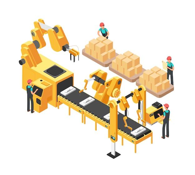 Usine électronique isométrique avec chaîne de montage de convoyeur, opérateurs et robots. illustration vectorielle 3d Vecteur Premium