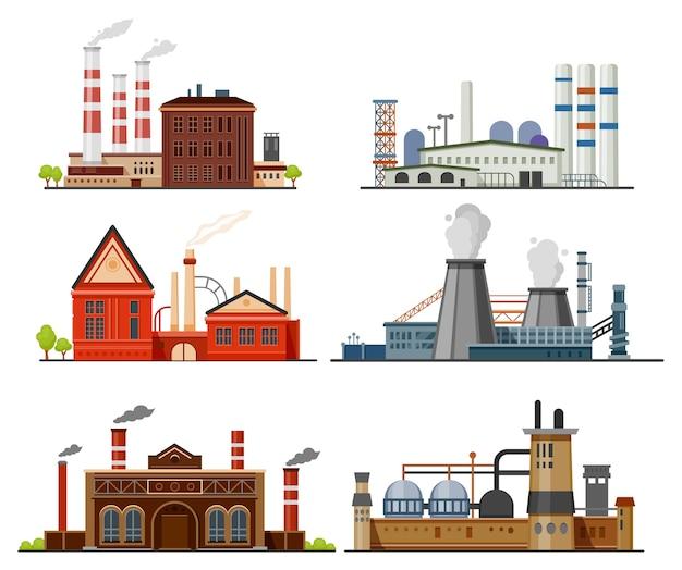 Usine, Fabrication Et Bâtiments Industriels Vecteur Premium