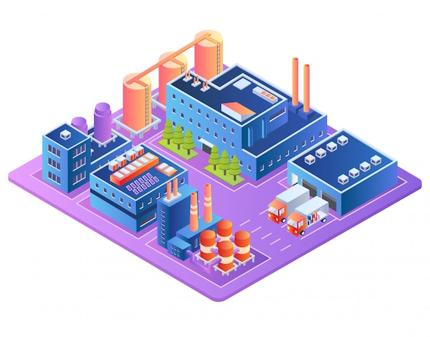 Usine, Industrie Des Combustibles, Bâtiments Des Raffineries Vecteur Premium