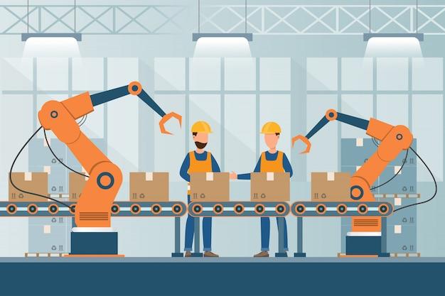 Usine Industrielle Intelligente Dans Un Style Plat Avec Des Travailleurs, Des Robots Et Une Chaîne De Montage Vecteur Premium