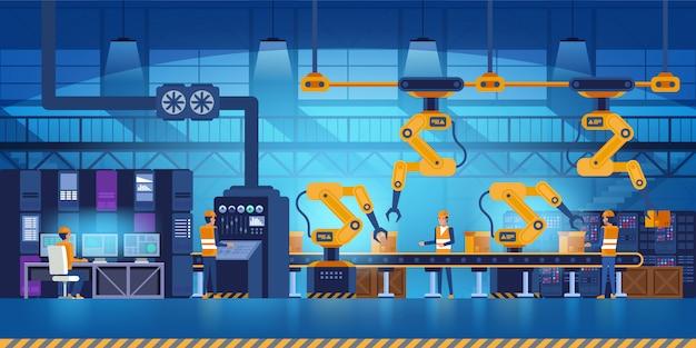 Usine Intelligente Efficace Avec Travailleurs, Robots Et Chaîne De Montage, Industrie 4.0 Et Concept Technologique Vecteur Premium