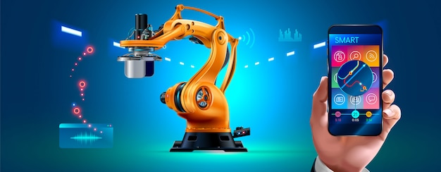 Usine intelligente de gestion homme d'affaires avec bras robotiques et convoyeur via smartphone connecté Vecteur Premium