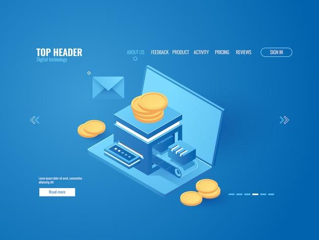 Usine minière, ordinateur portable avec mini ferme, système de paiement automatisé Vecteur gratuit